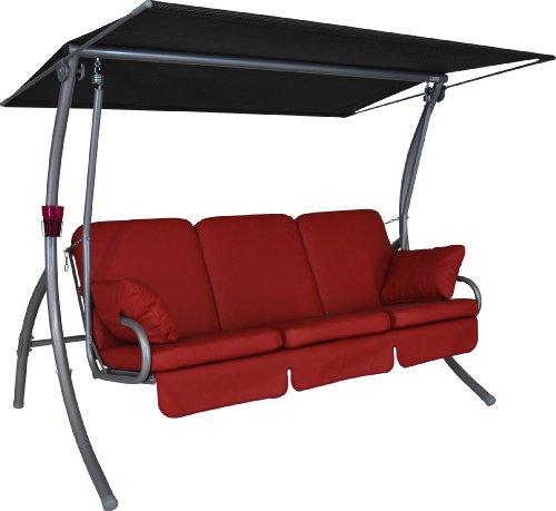 Angerer Primero Premium Hollywoodschaukel Leder Rot 3-Sitzer