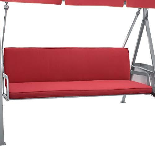 Beautissu Hollywoodschaukel Auflage Loft HS 180x50cm Auflagen für 3-Sitzer Hollywoodschaukel mit Rücken-Kissen Rot in verschiedenen Farben erhältlich