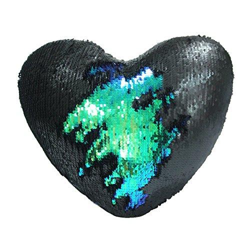 Meerjungfrau Wurf Kissen mit Insert Play Tailor Reversible Sequins Kissen Herzform Dekorative Kissen 35 x 40cm Schwarze Magie  Farbe grün