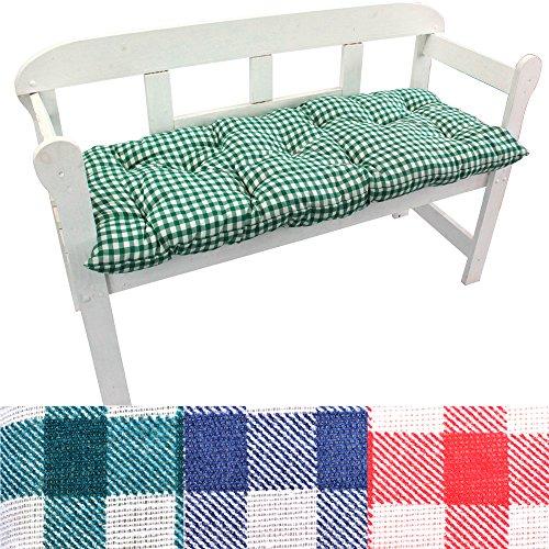 PROHEIM Gartenbank-Auflage Karo Auflage-Kissen für Bänke und Gartenschaukel Sitzkissen für Bank Sitzpolster 8 cm dick FarbeGrün Größe120 x 50 x 8 cm