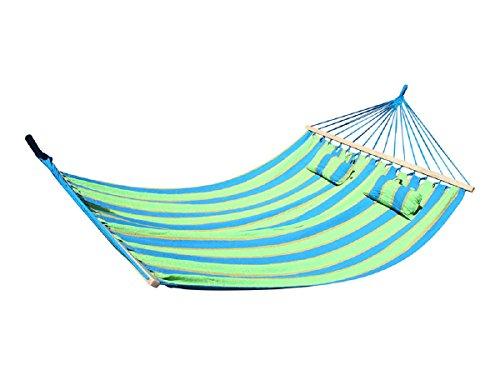 tevenger Outdoor Camping XXL Querholz Hängematte Hängeliege 210x150 cm Liegefläche mit Kissen grün blau gestreift bis 200 kg belastbar