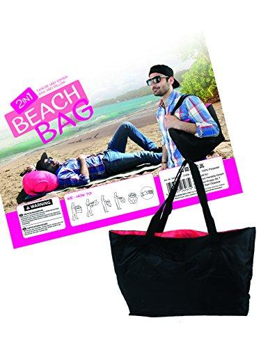 MIK Funshopping Strandtasche 2in1 Kissen Beach Bag schwarz pink aufblasbar