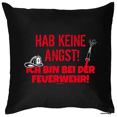 Goodman Design  Kissen mit Feuerwehr Motiv - Hab Keine Angst Ich Bin bei der Feuerwehr - Sofakissen - Couch Kissen - schwarz