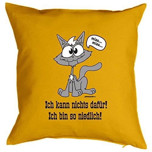 Goodman Design  Kissen mit lustigem Katzenmotiv - Ich kann Nichts dafür - Geschenk für echte Tierliebhaber - Zierkissen - Couchkissen