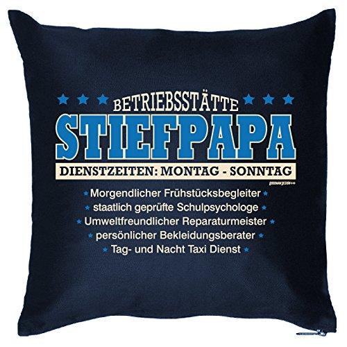 Goodman Design  Kissenbezug mit lustigem Motiv - Betriebsstätte Stiefpapa Dienstzeiten Montag-Sonntag - Geburtstag - Party-Gag
