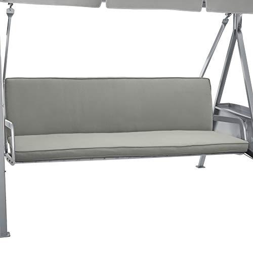Beautissu Hollywoodschaukel Auflage Loft HS 180x50cm Auflagen für 3-Sitzer Hollywoodschaukel mit Rücken-Kissen Hellgrau in verschiedenen Farben erhältlich
