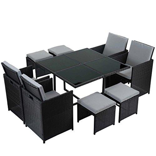 Mendler Poly-Rattan Garten-Garnitur Kreta Lounge-Set Sitzgruppe ~ 4 Stühle schwarz Kissen hellgrau