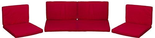 Lounge Premium Sitzkissen Kissenset für Monaco Rattan Gartengruppen Rot 8 Kissen 100 Polyester Wasserabweisend mit Reissverschlüssen Bezug Abnehmbar