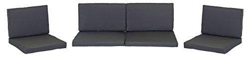 beo Loungekissen Ersatz für Monaco Set Gruppen Austauschkissen wasserabweisend Set mit 8 Kissen 5 cm dick anthrazitschwarz