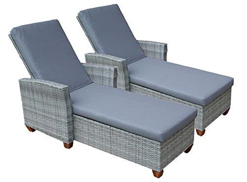 2erSet Sonnenliegen Lounge Liegen Gartenliegen aus Polyrattan inkl 8 cm dicker Auflage stabiler durchgängiger Aluminiumrahmen Rückenlehne 5-fach verstellbar ganz flach Liegestuhl Geflecht aus Poly Rattan Farbe Grau