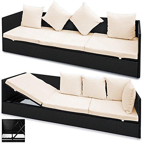 Deuba Polyrattan Liege mit Rückenlehne schwarz 7cm Dicke Sitzauflagen Verstellbarer Liegefläche