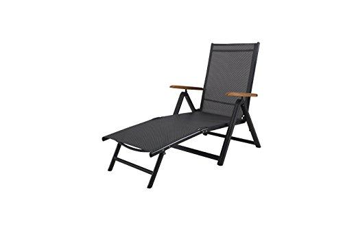 Ambientehome 50032 Aluminium Klappliege Sonnenliege Gartenliege Campingliege anthrazit