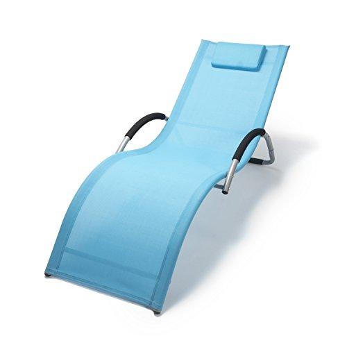 Ampel 24 Wellnessliege Bahamas mit Armlehne ergonomische Sonnenliege mit Kopfkissen Saunaliege blaugrau Gartenliege aus Alu wetterfest