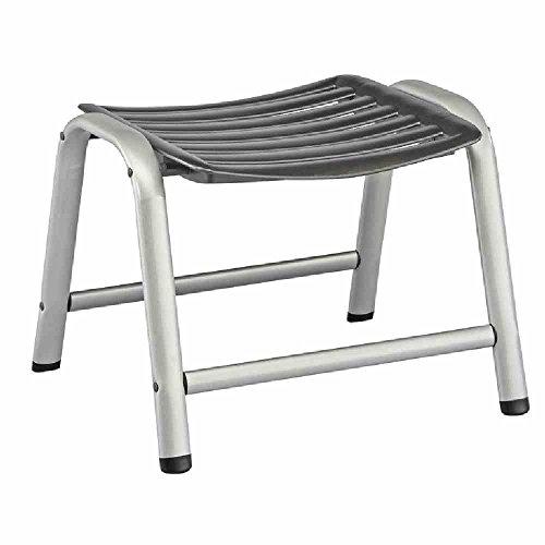 Kettler Hocker Wave – formschöner Sitzhocker für Garten Terrasse und Balkon – wetterfester Fußhocker für Relaxstuhl und Gartenliege – aus Aluminium und KETTALUX-Kunststoff – silber anthrazit