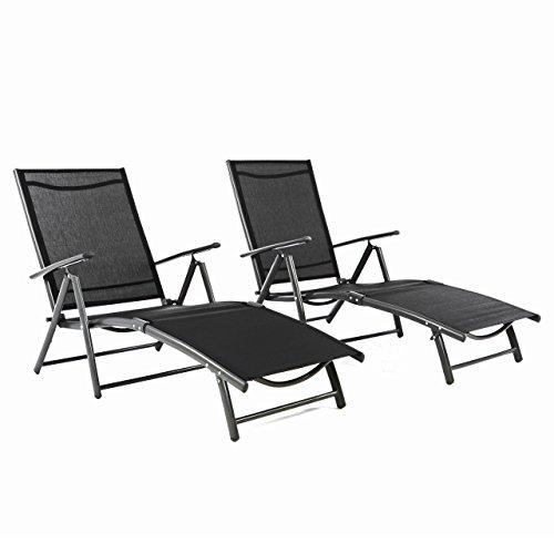 Nexos ZGC34467_SL02 2er Set Gartenliege Sonnenliege Liegestuhl Klappliege – für Terrasse Balkon – klappbare Liege aus Alu Stahl Textilene-schwarz anthrazit