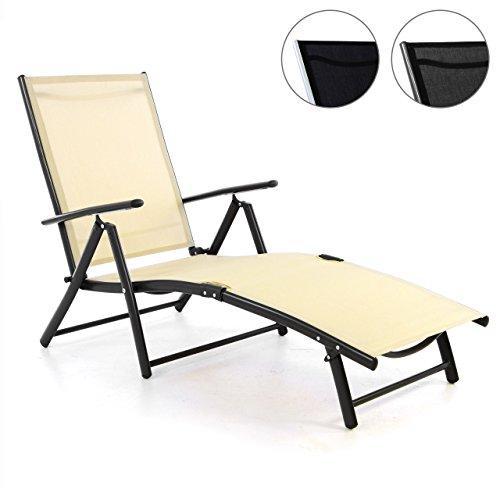 Nexos ZGC34468 Gartenliege Sonnenliege Liegestuhl Klappliege – für Terrasse Balkon – klappbarer Gartenstuhl aus Alu Stahl Textilene-Creme Anthrazit