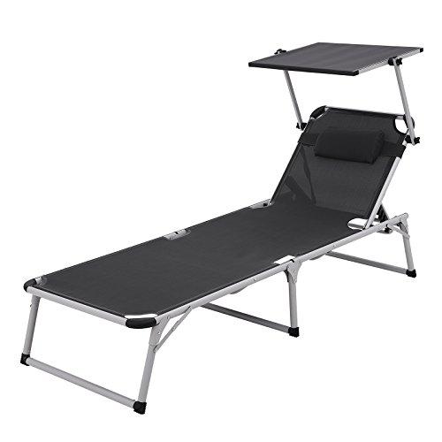 SONGMICS Aluminium Sonnenliege Gartenliege verstellbarer klappbare Liegestuhl mit Kopfkissen und Sonnendach belastbar bis 250 kg rauchgrau 193 x 67 x 32 cm GCB19GY