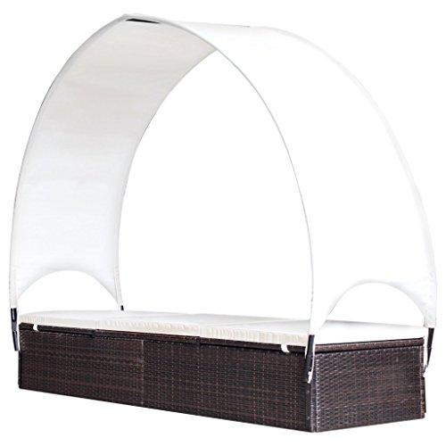 Festnight Sonnenliege mit Sonnenschirm Rattanliege Liege Gartenliege Outdoor-Liege aus Polyrattan 194x60x30156cm Braun