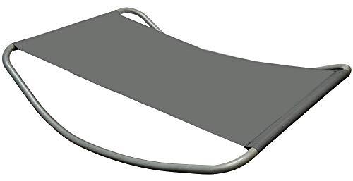 Gartenliege XXL Wippliege Sonnenliege in Grau  Extra groß ca 200x130x32 cm  robustes Metallgestell  formstabile Bespannung  moderne Relaxliege mit Kopfkissen  Für Innen und Außenbereich