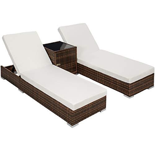 TecTake 2X Aluminium Polyrattan Sonnenliege  Tisch Gartenmöbel Set - inkl 2 Bezugsets  Schutzhülle Edelstahlschrauben - Diverse Farben - Schwarz-Braun Nr 401499