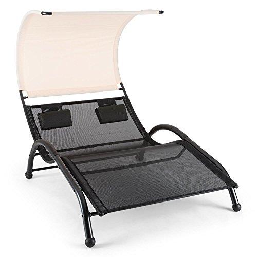 blumfeldt Dandyland • Gartenliege • Relaxliege • Sonnenliege • Schwingliege • für 2 Personen • extrabreite 130x200 cm Liegefläche • ergonomisch • Polyester-Gittergewebe • 200 kg max • schwarz-beige