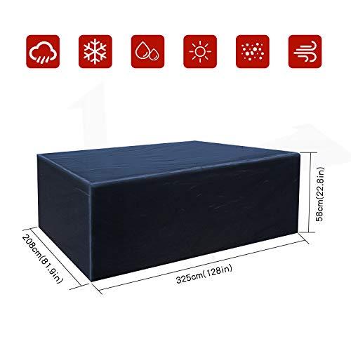 Buzazz Abdeckung für Gartenmöbel Oxford-Gewebe Wasserdicht Staubdicht Anti-UV Schutz Rechteckig Gartenmöbel Schutzhülle für eckige Tische Sofa Liege Stühle - Schwarz325 x208 x58CM