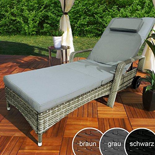 Rattan Garten Liege Relax Polyrattan Gartenliege Rattanmöbel Liegestuhl Sonnenliege Grau