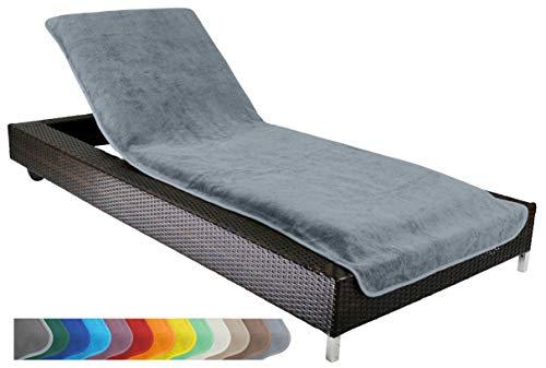 Schonbezug für Gartenliege Strandliegenauflage Frottee Schonbezug 100 Baumwolle - ca75x200 cm - Grau - Brandseller