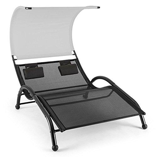 blumfeldt Dandyland • Gartenliege • Relaxliege • Sonnenliege • Schwingliege • für 2 Personen • extrabreite 130x200 cm Liegefläche • ergonomisch • Polyester-Gittergewebe • 200 kg max • schwarz-grau