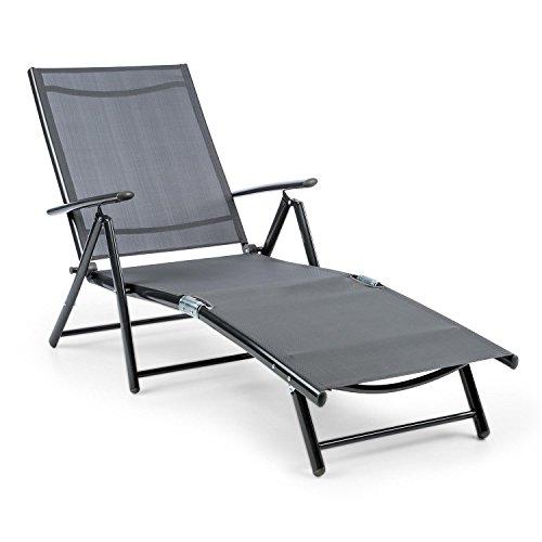 blumfeldt Modena • Gartenliege • Sonnenliege • Liegestuhl • Relaxliege • ergonomische Form • 7-stufig verstellbar • Stahl- und Aluminiumrohr-Rahmen • schnell trocknend • grau