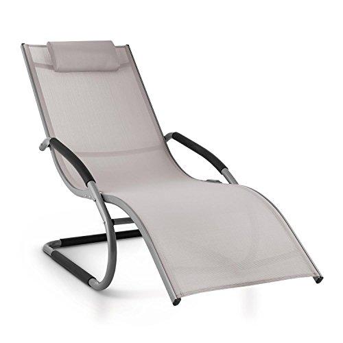 blumfeldt Sunwave • Gartenliege • Liegestuhl • Schaukelliege • Relaxstuhl • ergonomisch • Kunststoffstopper • Aluminiumrohr • atmungsaktiv • witterungsbeständig • max Belastung 180 kg • grau