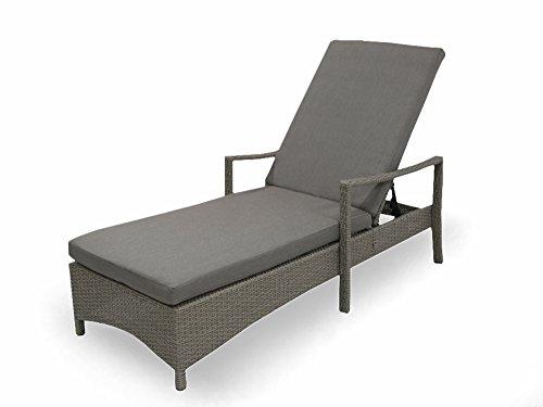 osoltus Lounge Gartenliege Geflecht Liege grau mit Auflage Aluminium rostfrei