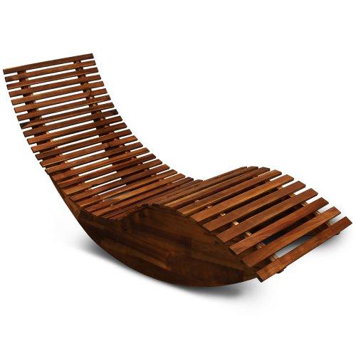 Deuba Schwungliege  FSC-zertifiziertes Akazienholz  Ergonomisch  Vormontierte Latten  Wippfunktion  Gartenliege Sonnenliege Relaxliege Saunaliege