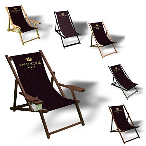 Printalio VIP - Liegestuhl Bedruckt Balkon Garten Sonnenliege Relax Holz Terrasse  mit Armlehne Dunkelbraun