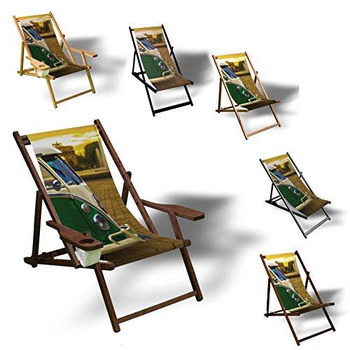 Printalio VW Bus - Liegestuhl Bedruckt Balkon Garten Sonnenliege Relax Holz Terrasse  mit Armlehne Dunkelbraun