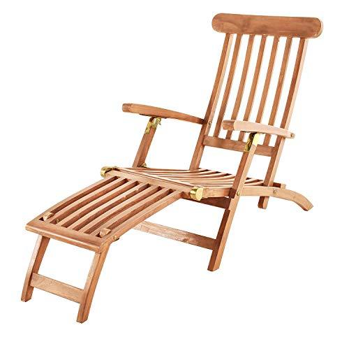 SAM Teak Holz Deckchair Sonnenliege- Stuhl verstellbar geschliffen zusammenklappbar Balkon Terrasse und Garten