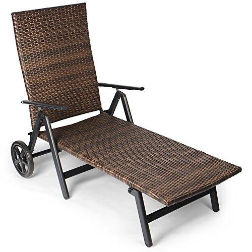 Vanage Sonnenliege mit Polyrattan Optik in braun - Gartenliege mit 2 Rädern - Liegestuhl ist klappbar - Gartenmöbel - Strandliege aus Aluminium - Relaxliege für den Garten Terrasse und Balkon