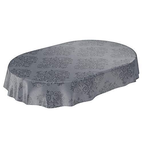 ANRO Wachstuchtischdecke Wachstuch Wachstischdecke Tischdecke abwaschbar Grau Anthrazit Rankenmuster Barock Arabeske Oval 180 x 140cm 140 x 180cm