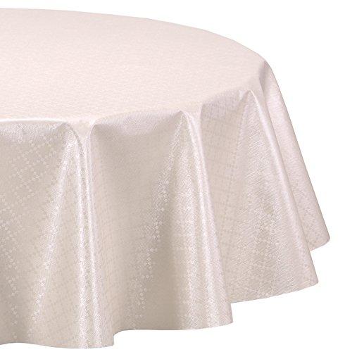 Wachstuchtischdecke abwischbar Wachstuch Tischdecke OVAL RUND ECKIG Rauteprägung Uni Farbe und Größe wählbar Oval 130x170 cm Beige