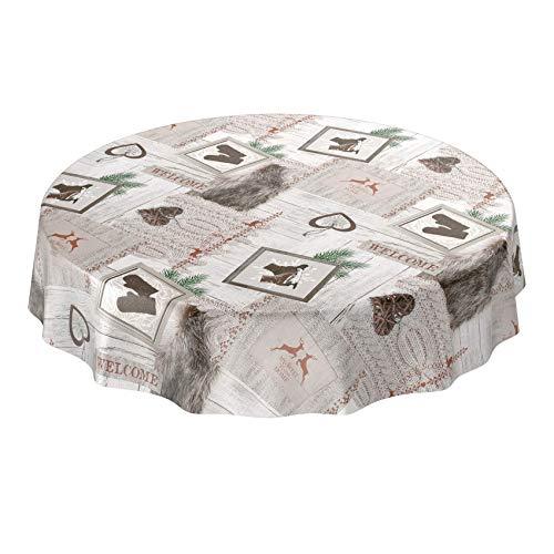 ANRO Wachstuchtischdecke Wachstuch abwaschbar Tischdecke Weihnachten Weihnachtsfest Rund 140cm Schnittkante