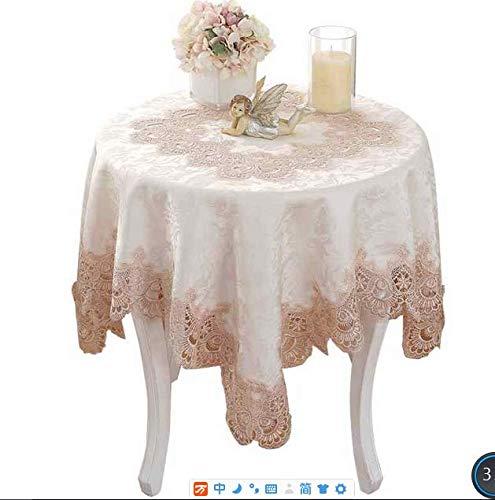 American Country Spitze bestickt Tischdecken Tisch rund Kaffee Tischdecke Tischdecken Handtücher Platzsets Tischset Untersetzer Baumwollmischung WM001 Beige 120 round 50~70 round table