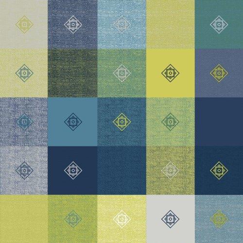 Wachstuch Breite Länge wählbar - dcfix Leinenoptik Kariert Blau 3854444 - ECKIG 140 x 250 bzw 250x140 cm abwaschbare Tischdecke Wachstücher Gartentischdecke