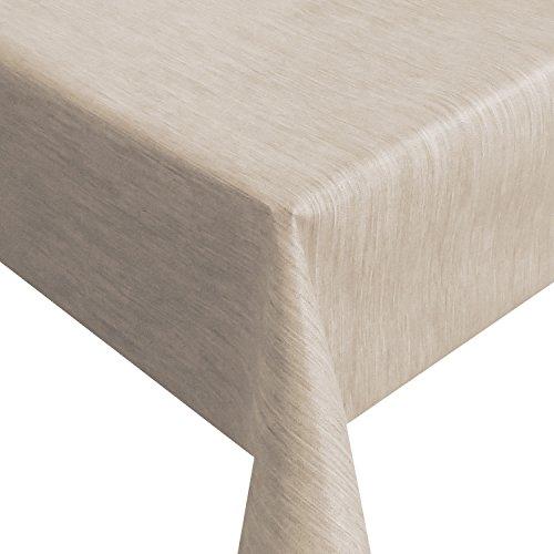 Wachstuch Robuste Leinen Prägung Pro RUND OVAL ECKIG Breite Länge wählbar Beige Sand Eckig 160 x 220 cm abwaschbare Tischdecke Gartentischdecke