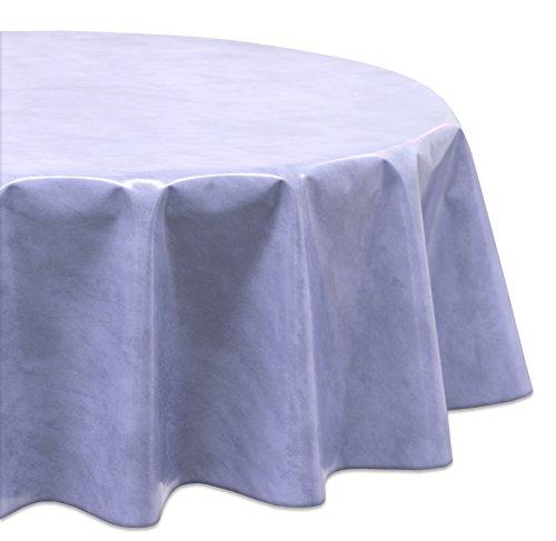 WACHSTUCH Tischdecken Gartentischdecke abwischbar Glatt Rund Oval Motiv Farbe und Größe wählbar Oval 140x200 Marmor Hellblau