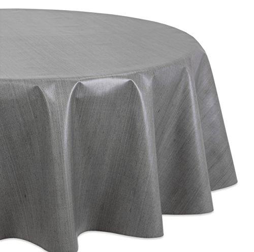 Wachstuchtischdecke OVAL RUND ECKIG Motiv u Größe wählbar LFGB Lebensmittelecht Top Qualität Rund 140 Leinen Grau