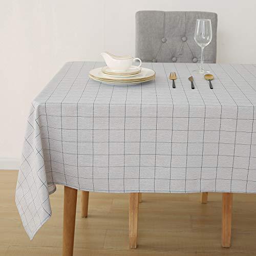 Deconovo Tischdecke Leinenoptik Lotuseffekt Wasserabweisend Tischwäsche Tischtuch 140x300 Dunkelblau Weiß