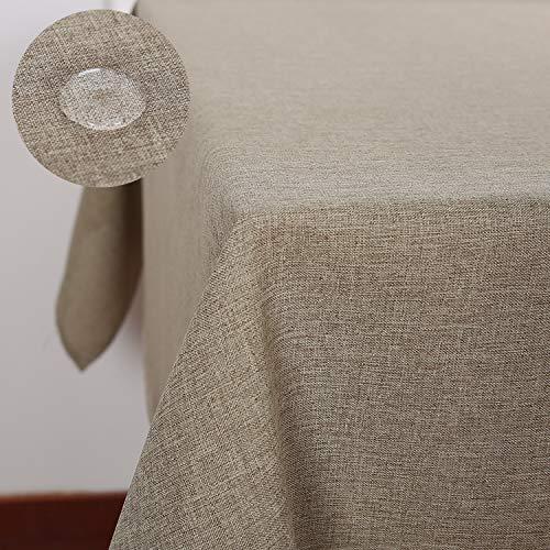 Deconovo Tischdecke Leinenoptik Wasserabweisend Lotuseffekt 140x200 cm Taupe
