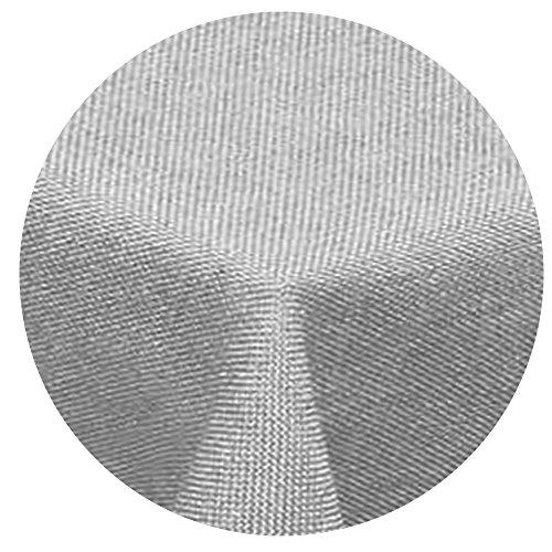 Leinen Optik Tischdecke Rund 140 cm Hellgrau · Rund Farbe wählbar mit Lotus Effekt - Wasserabweisend