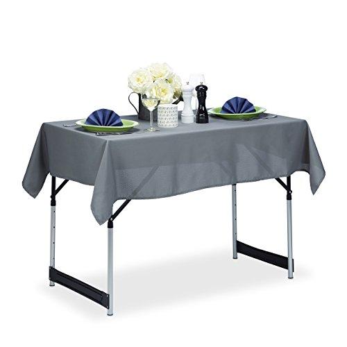 Relaxdays Tischdecke wasserabweisend pflegeleicht Polyester-Tischtuch bügelfest Gartentischdecke eckig 110x140 grau
