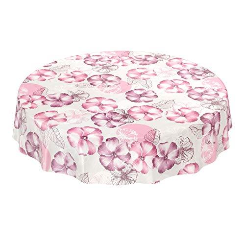 ANRO Wachstuchtischdecke Wachstuch Wachstischdecke Tischdecke abwaschbar Purpur Rosa Blumen Mohnblumen Rund 140cm